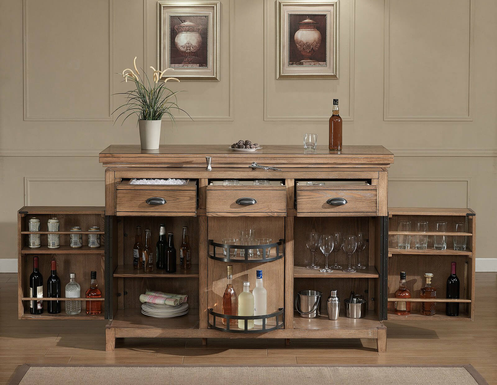 N As You Can See The Amount Of Storage In This Rustic Home Bar Cabinet Unit