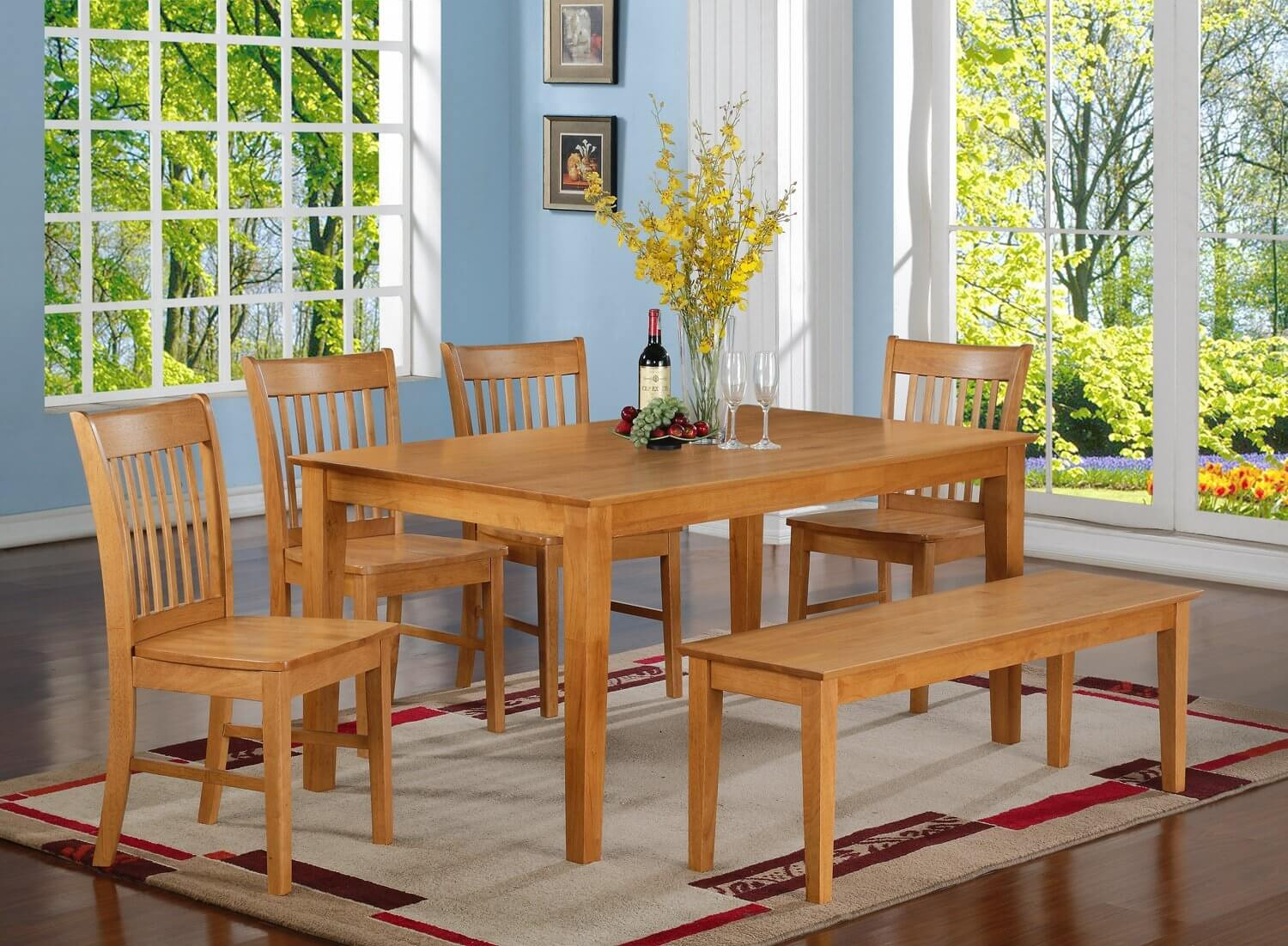 dining room sets bench seating kitchen table chairs Oak finish six piece bench style dining room set with large rectangle table It s
