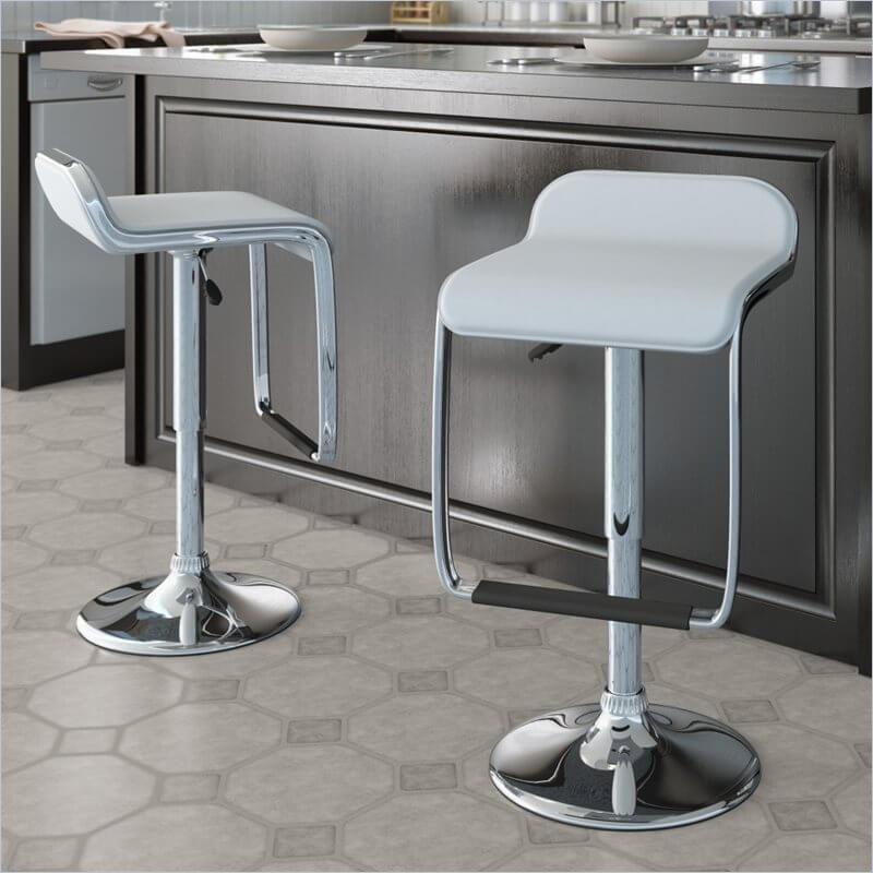 Low Back White And Chrome Modern Kitchen Counter Stool Leather Bar Stools With Back L76