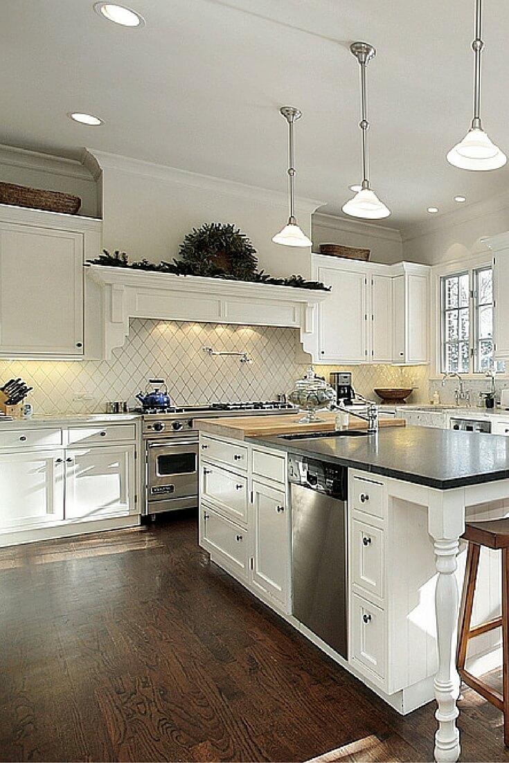 top white kitchen designs white kitchen ideas Contemporary white kitchen with wood flooring