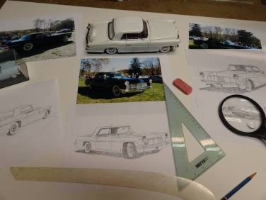 AFAS artist Ken Eberts' early sketches for the 2013 Concours commemorative poster. (photo: Ken Eberts/Pebble Beach Concours d'Elegance)