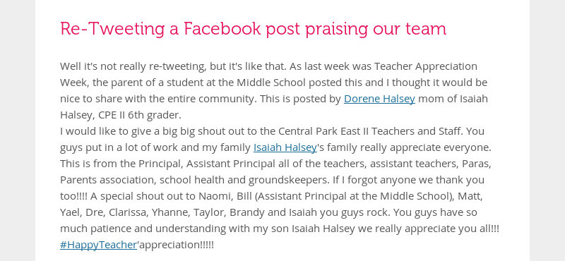 Re-Tweeting a Facebook post praising our team Well it's not really re-tweeting, but it's like that....