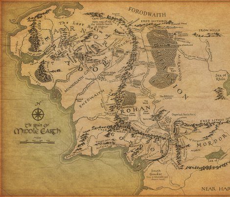 Middle Earth Map giftwrap   walkingraven1   Spoonflower Rrr1797179 rrmiddle earth map1 shop preview