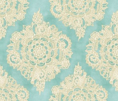Cream Floral Moroccan on Soft Light Teal wallpaper - micklyn - Spoonflower
