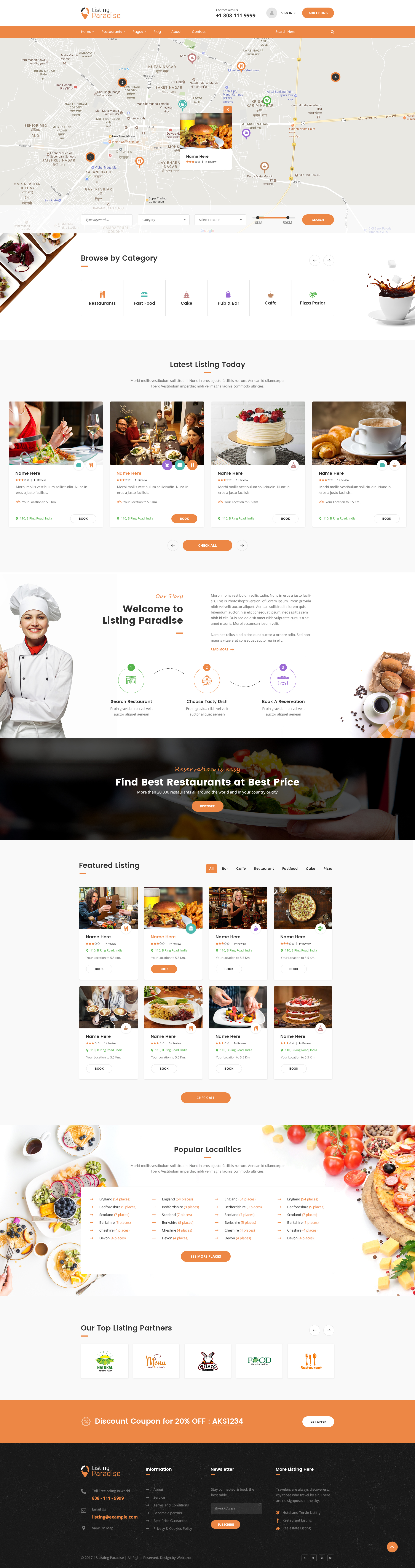 Listing Paradise Directory Listing PSD Template by webstrot         Preview 17 Index Restaurant With Map jpg