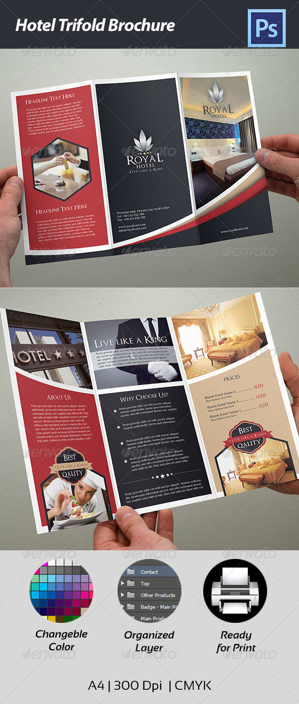 Hotel Trifold Brochure by Cr8iveStudio   GraphicRiver Hotel Trifold Brochure   Corporate Brochures