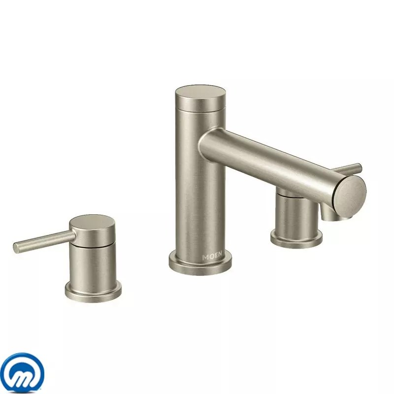 O Moen T393BN Brushed Nickel Deck Mounted Roman Tub Faucet Trim From The  Align Collection Less Valve  Faucetcom