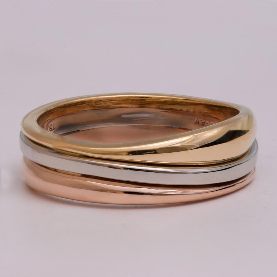 cubic zirconia round wedding ring set triple band wedding ring Katlin s Round Cut CZ Triple Band Wedding Ring Set