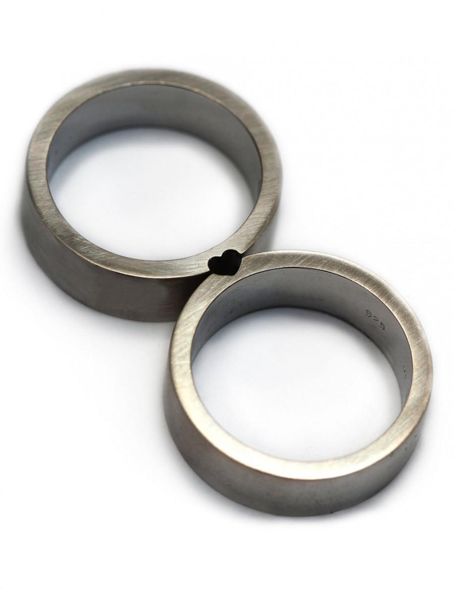 sterling silver wedding sets One Tiny Diamond Ring Set Simple Wedding Rings Sterling Silver Engagement Ring Set Matte Finish Simple Diamond Ring Modern 2 mm