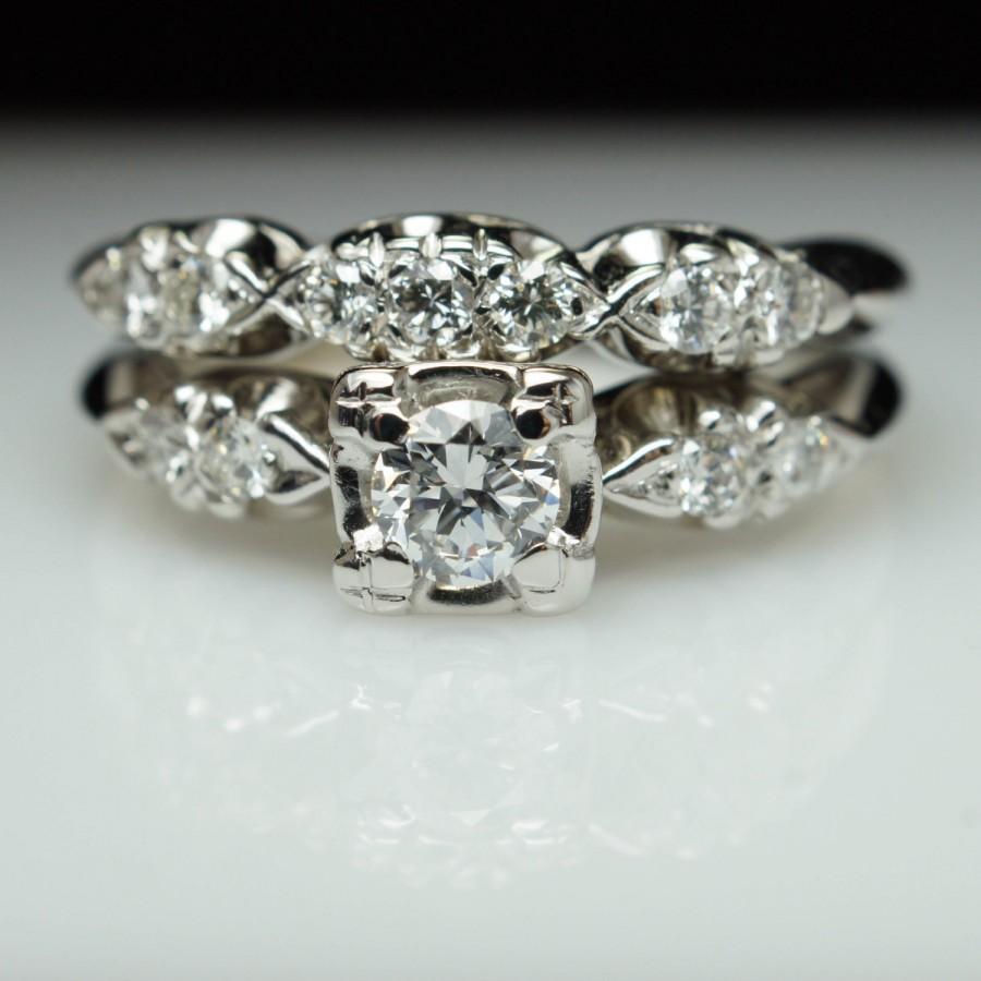 vintage wedding bands s Diamond 14K Gold Engagement Ring Wedding Band SET w original box