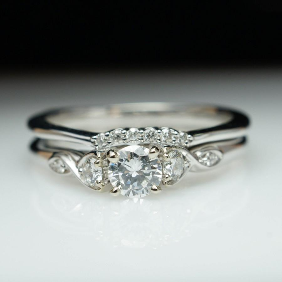 vintage wedding band s Diamond 14K Gold Engagement Ring Wedding Band SET w original box