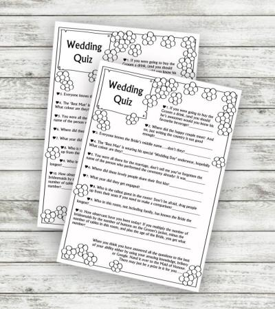 Wedding Game - Table Quiz - DOWNLOAD INSTANTLY! #2481857 ...