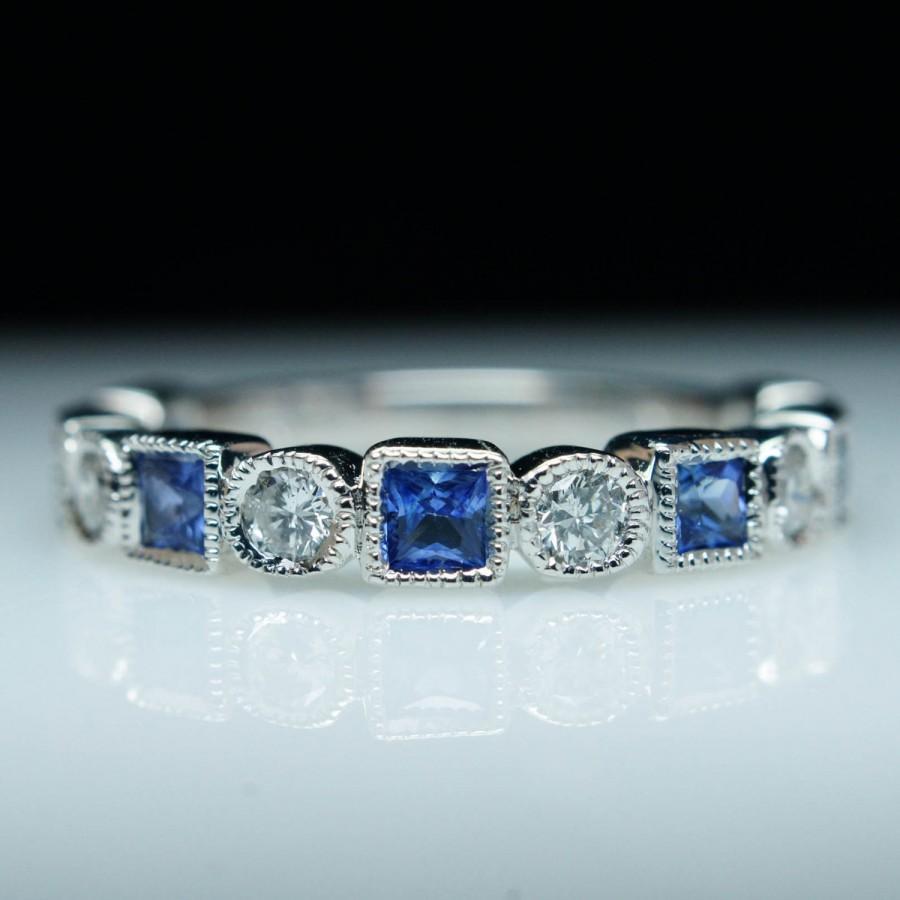sapphire wedding band T W Blue Sapphire Engagement Wedding Band Ring 18K Black Gold fn eBay