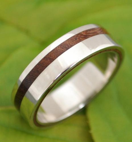 northernroyal wood mens wedding bands 6mm Tungsten Carbide Ring With a Koa Wood Inlay