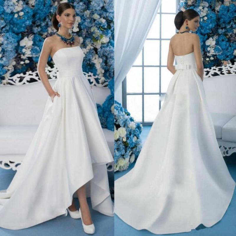 Wondrous Cheap 2016 Low Wedding Dresses Garden Strapless Neck Pocket Bow Sashsleeveless Wedding Gowns Long Beach Bridal Ball Ldress Online On Cheap 2016 Low Wedding Dresses Garden Strapless Neck Pocke