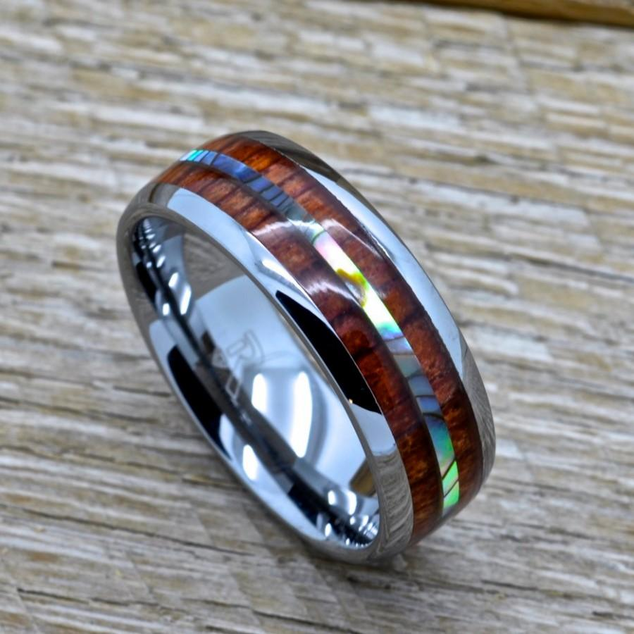 northernroyal wooden wedding bands mens 6mm Tungsten Carbide Ring With a Koa Wood Inlay