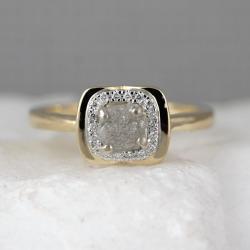 Dashing Yellow G Raw Diamond Halo Ring Rough Diamond Engagement Rings Conflict Free Diamond Ring Raw Diamond Gemstone Rings Yellow G Raw Diamond Halo Ring Rough Diamond Engagement
