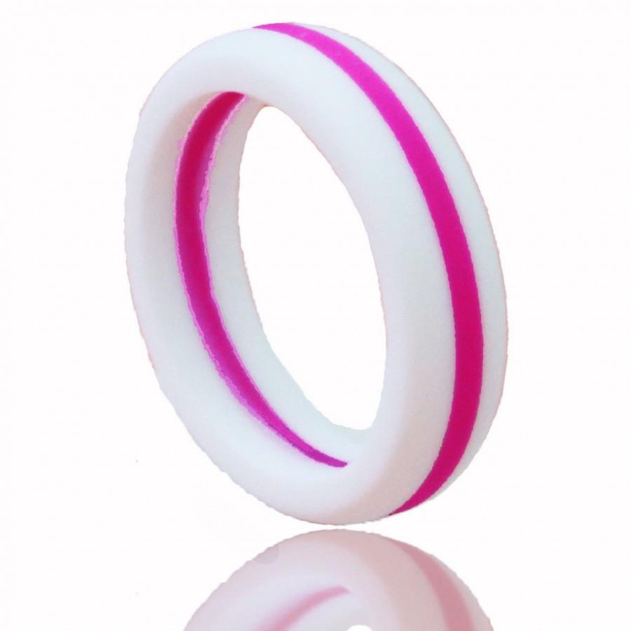 women39s silicone wedding ring white with hot pink stripe silicone wedding ring Women s Silicone Wedding Ring White with Hot Pink Stripe
