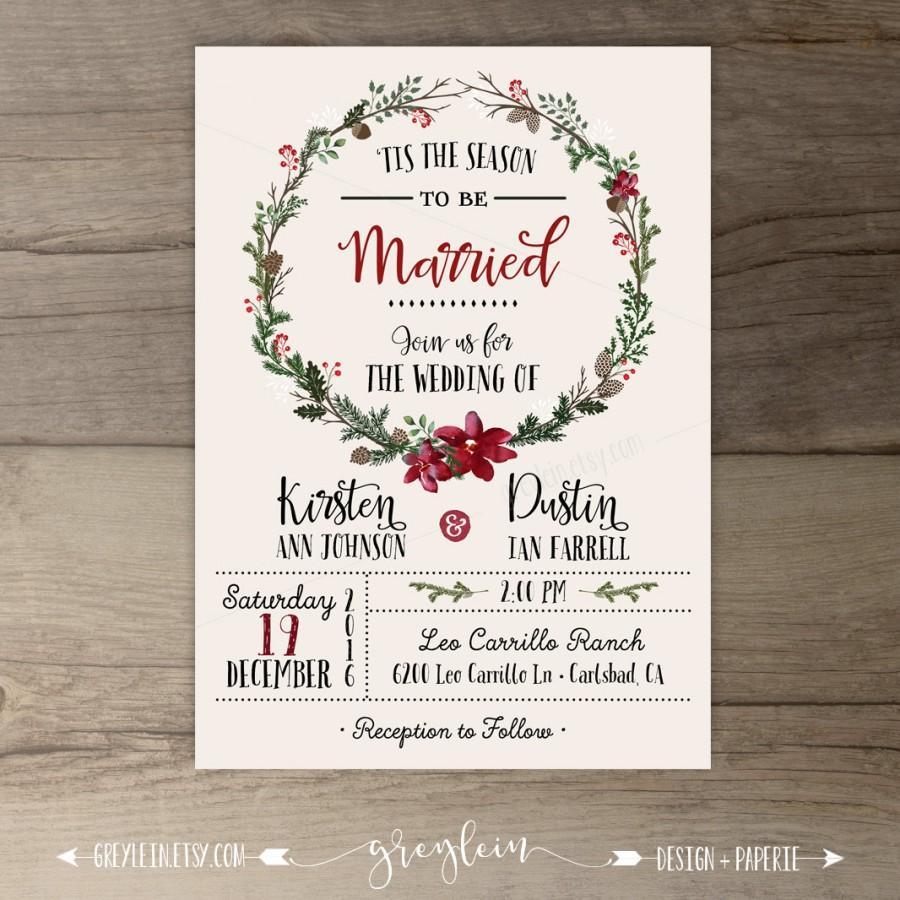 christmas christmas wedding invitations Christmas Wedding Invitation Mistletoe Bunch design
