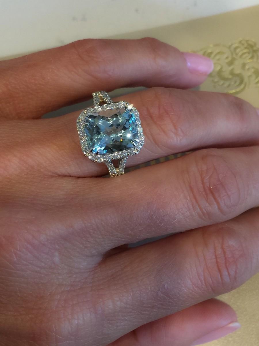 A Stone+Type Aquamarine 7CA Personalized aquamarine wedding rings Aquamarine Heart Ring 1 20 ct tw Diamonds Sterling Silver