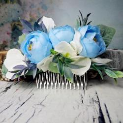 Pastel Blue White Greenery Cold Green Rustic Hair Comb Silk Flowers
