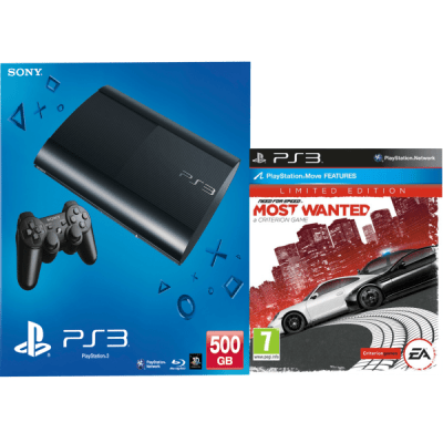 PS3: New Sony PlayStation 3 Slim Console (500 GB) - Black - Includes Need For Speed: Most Wanted ...