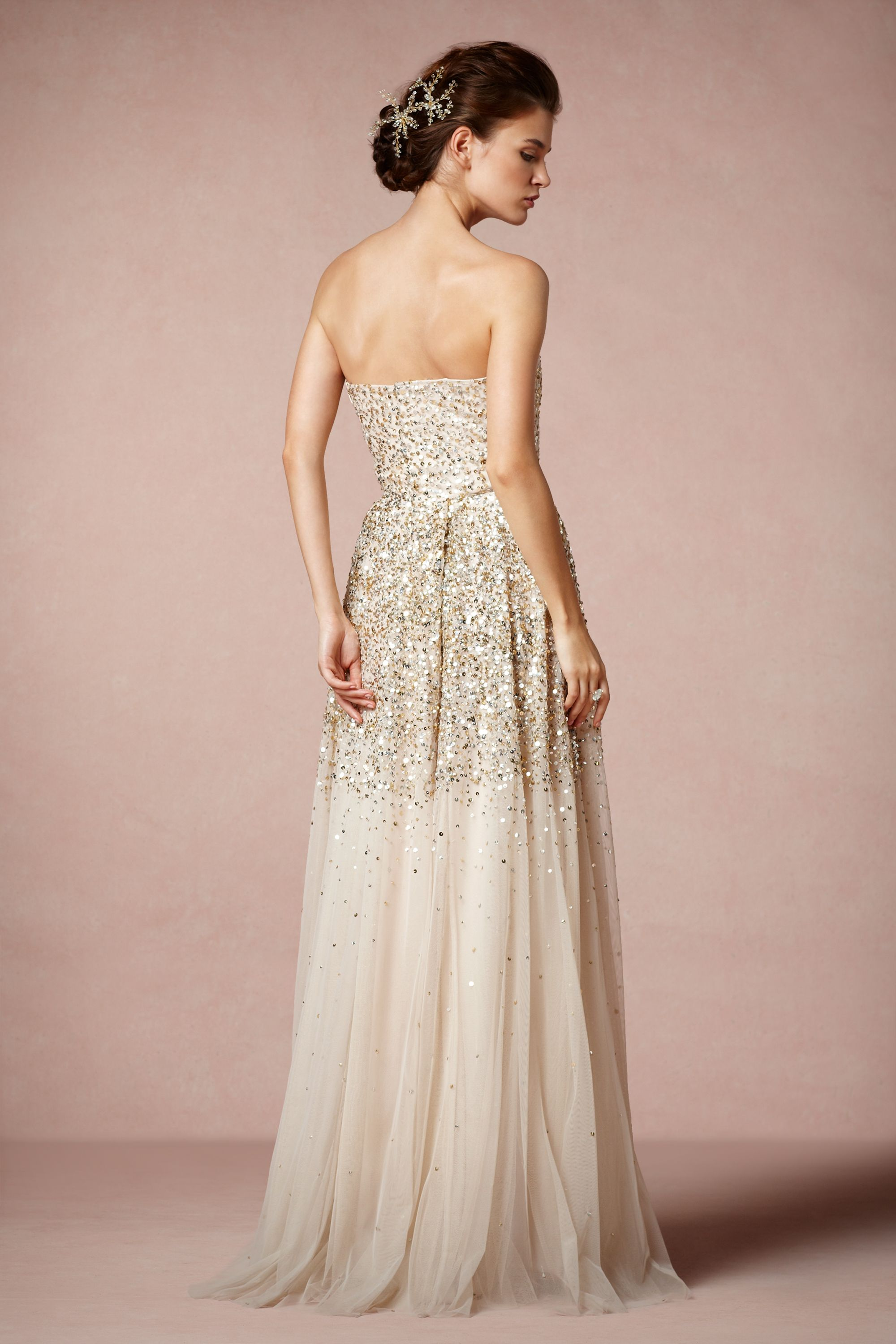 isadora gown sparkly wedding dresses Rachel Gilbert champagne Isadora Gown BHLDN