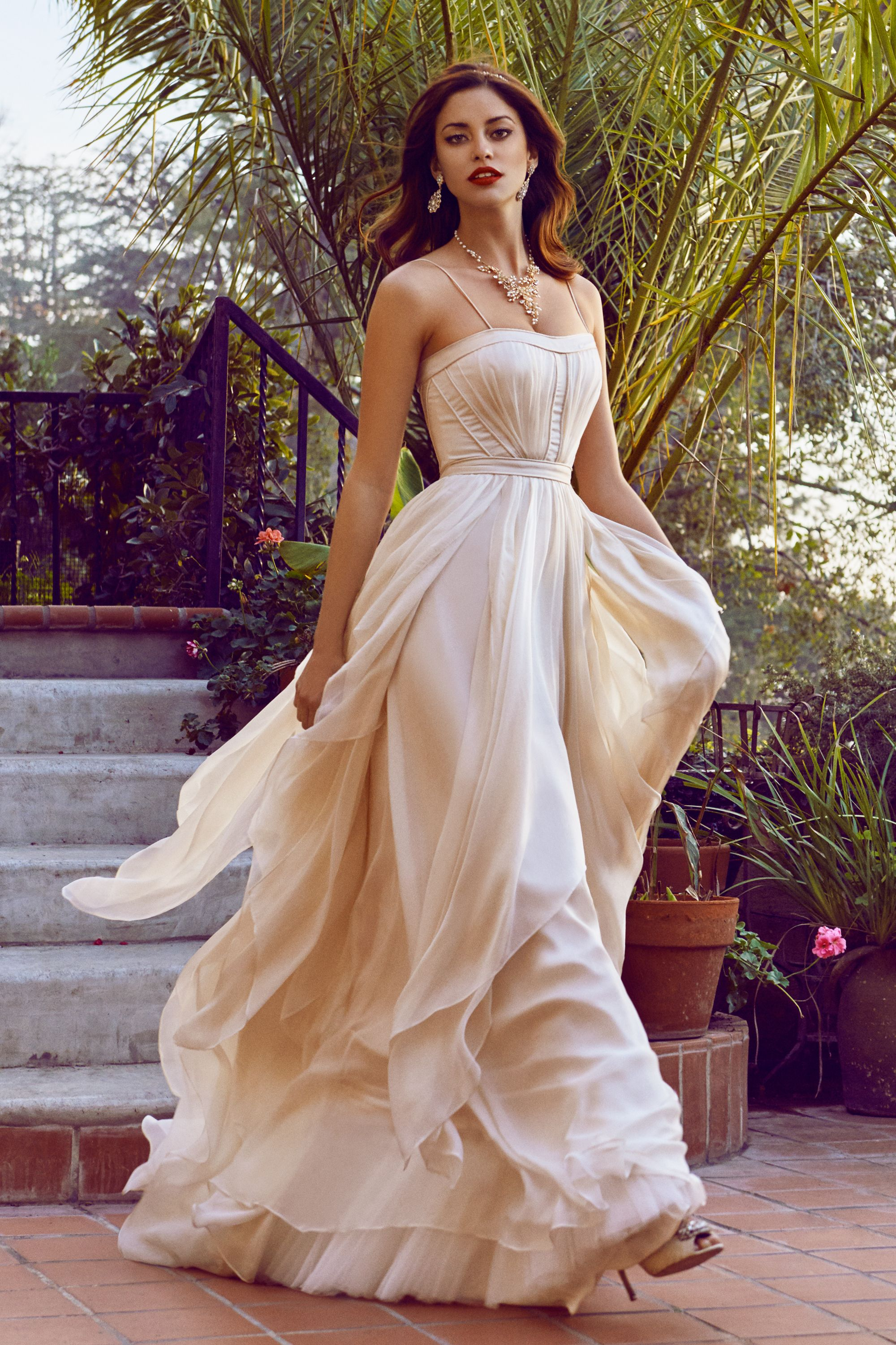 cascada gown flowy wedding dresses Catherine Deane Whisper Pink Cascada Gown BHLDN