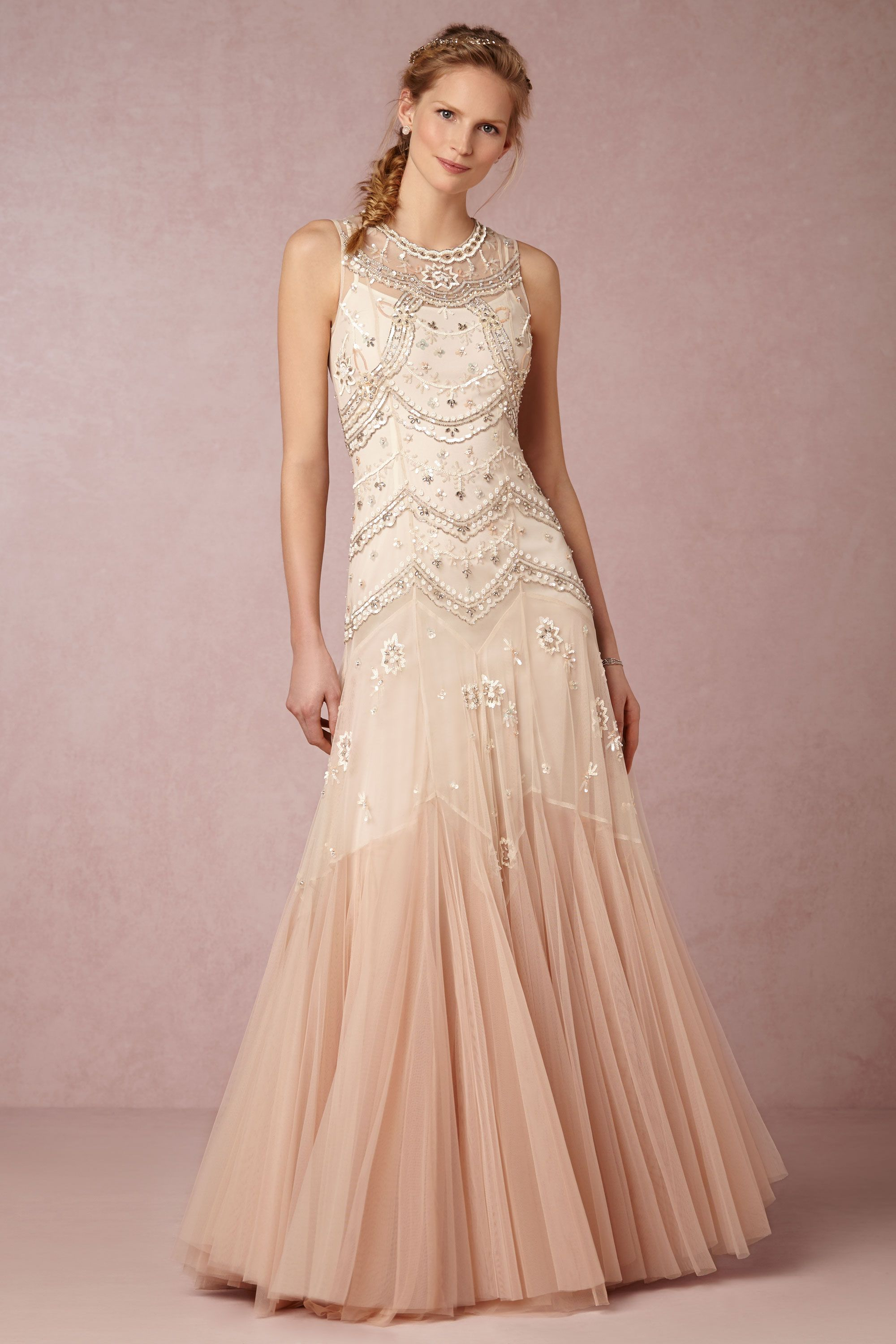 cate gown wedding gowns Needle Thread Cream Dust Pink Cate Gown BHLDN