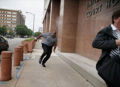 Man shot in gunfire exchange outside Dallas courthouse dies