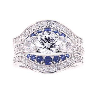 Wraps 20Enhancers jcpenney jewelry wedding rings Diamonart Cubic Zirconia and Lab Created Blue Sapphire Sterling Silver Engagement Ring and Enhancer JCPenney