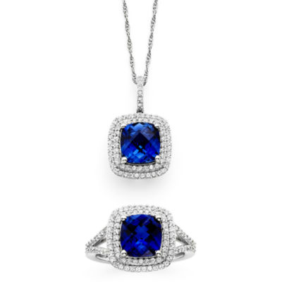 Fashion 20Sets jcpenney wedding ring sets Lab Created Blue White Sapphire Sterling Silver Pendant Necklace and Ring Set JCPenney