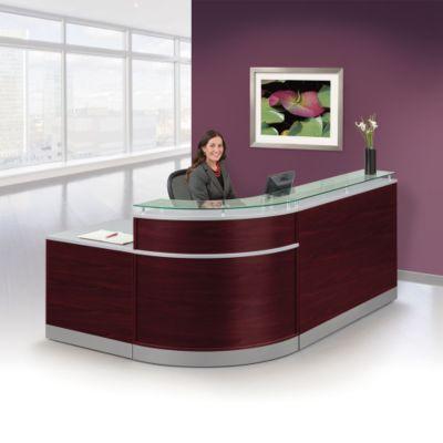glass top reception desk 95 modern office furniture