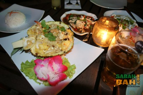 Full spread at Mai Yai Thai Orchid Restaurant in the KK Waterfront