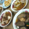 Yu Kee Bak Kut Teh: mushrooms int he foreground, intestines on the right, pork meat on the left and the tofu top right