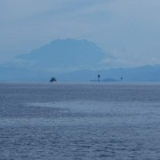 View from the Kuala Penyu Jetty with Mt Kinabalu in the Distance- Sabah, Borneo