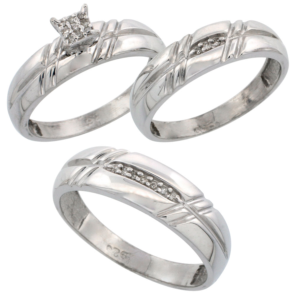 home wedding rings set Sterling Silver Diamond Trio Wedding Ring Set His 6mm Hers 5 5mm Rhodium finish