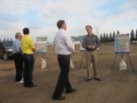 Tour participants learn about landscape architecture at the Township 9 site.