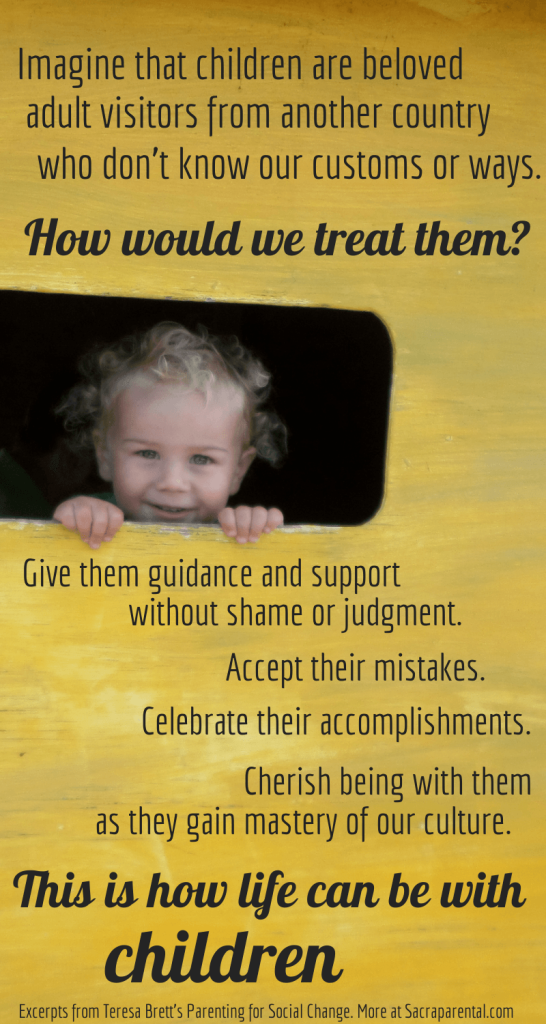 Quote from Parenting for Social Change by Teresa Brett | Sacraparental.com | Gentle parenting tips for fussy eaters!
