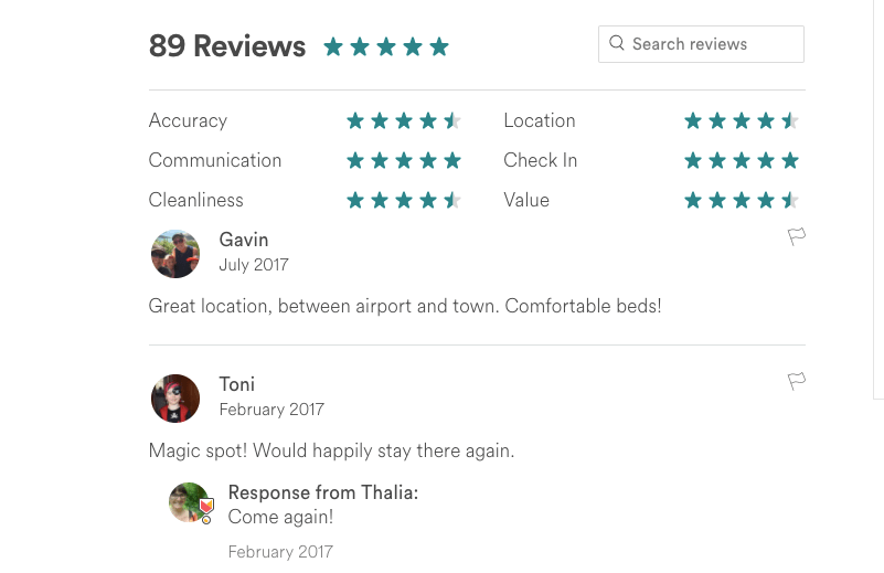 Image description: Screen shot of some reviews of our house. Click through to read them.
