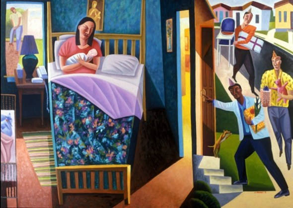 Art for Advent: Nativity, James B Janknegt, 2002, oil on canvas | Sacraparental.com