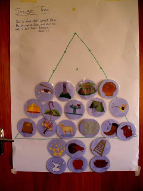 Stacey's Jesse Tree with symbols attached.