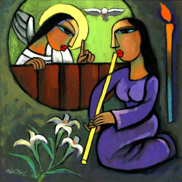 Advent in art, week 1: Annunciation by He Qi. For reflections and more, see the series at Sacraparental.com