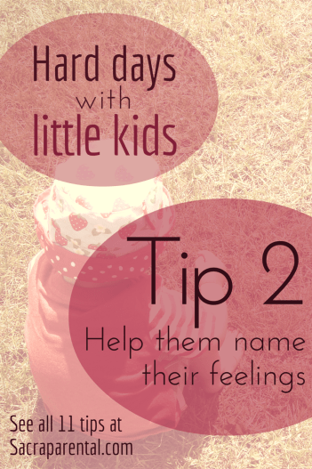 Hard days with little kids - 11 tips I'm trying to remember - Tip 2, help them name their feelings | Sacraparental.com