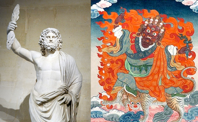 Zeus/Jupiter/Buddha figured with the Dorje or Cosmic Thunderbolt.