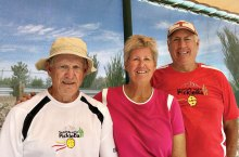 Left to right, with the new misters above them: Ken Powers, Linda and Don Cornish