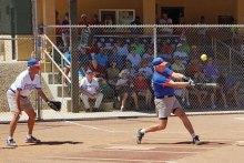 The crowd watches as Stu Kraft, SSSA President, takes a mighty swing; photo by Allan Kravitz.