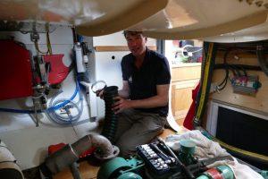 Ivar working on engine