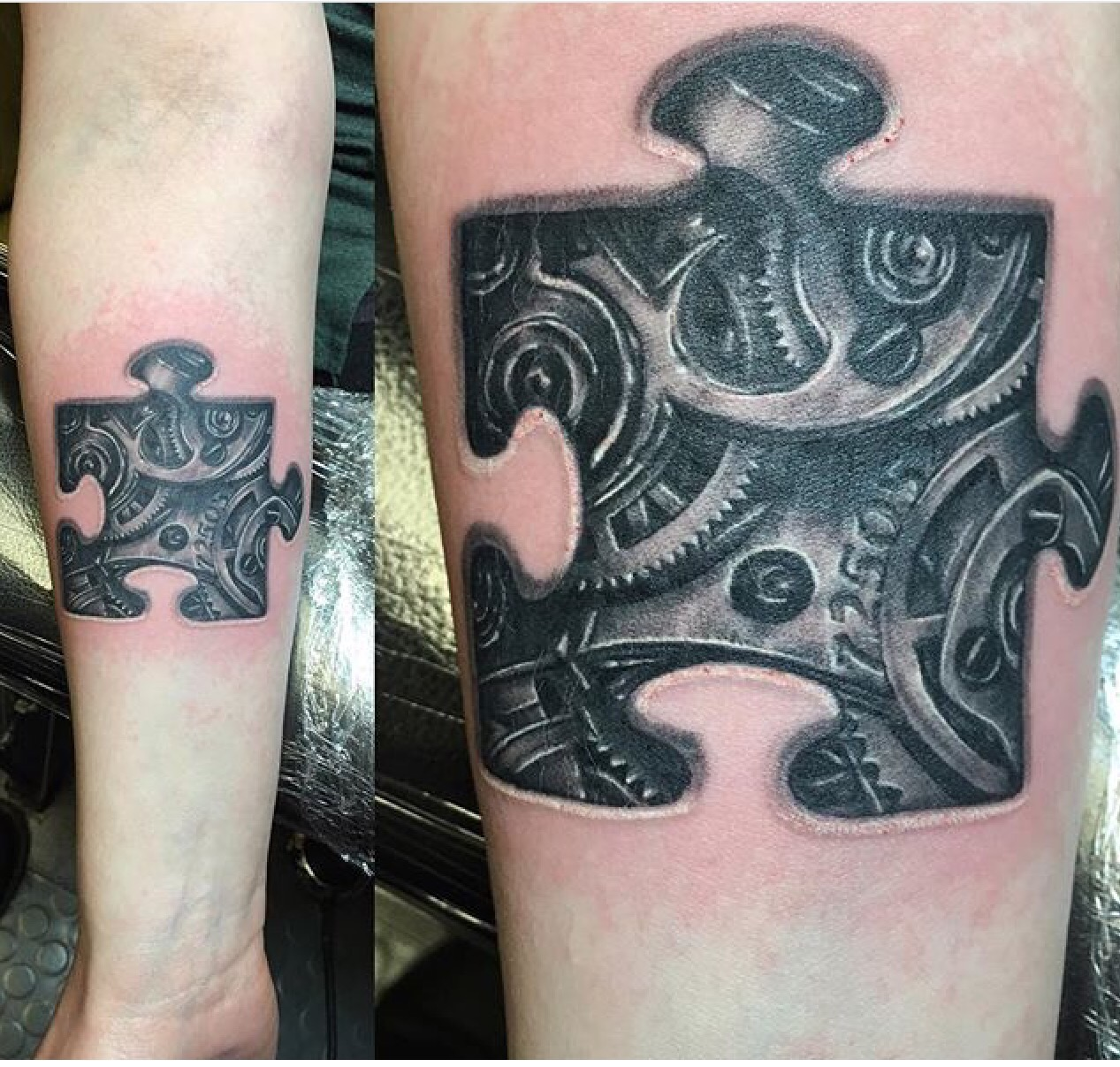 puzzle piece and gears tattoo saint sabrina 39 s piercing