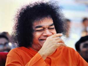 Photo of Sathya Sai Baba laughing